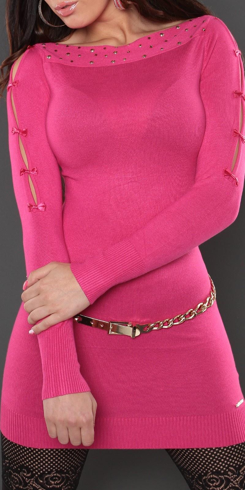 Sexy lange sweater-trui met strikjes fuchsiaroze