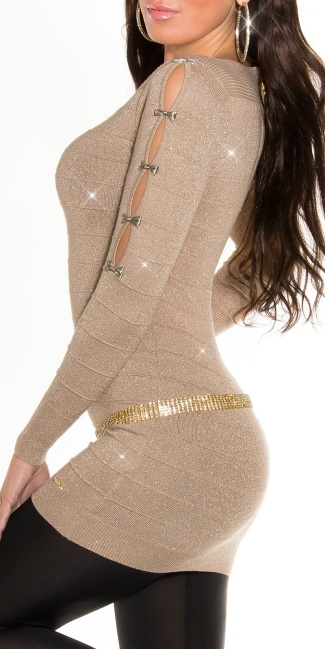 Fineknitted-minidress with glitter-effect Beige