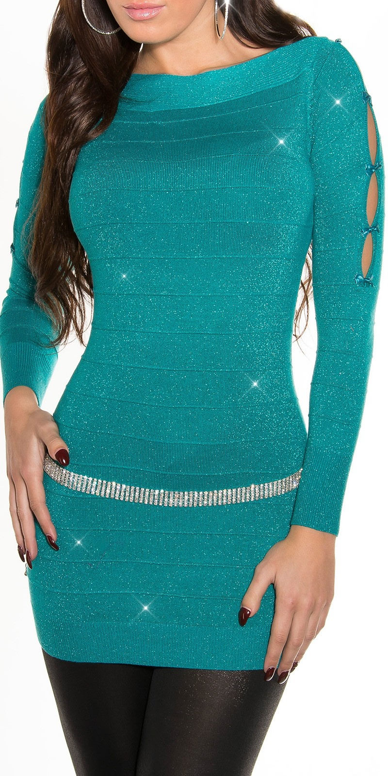 Fineknitted-minidress with glitter-effect Sapphire