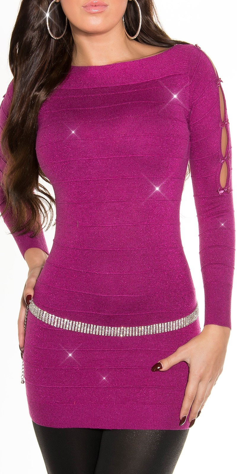 Fijn-Gebreide-Mini-Jurk met glitter-effect Violet