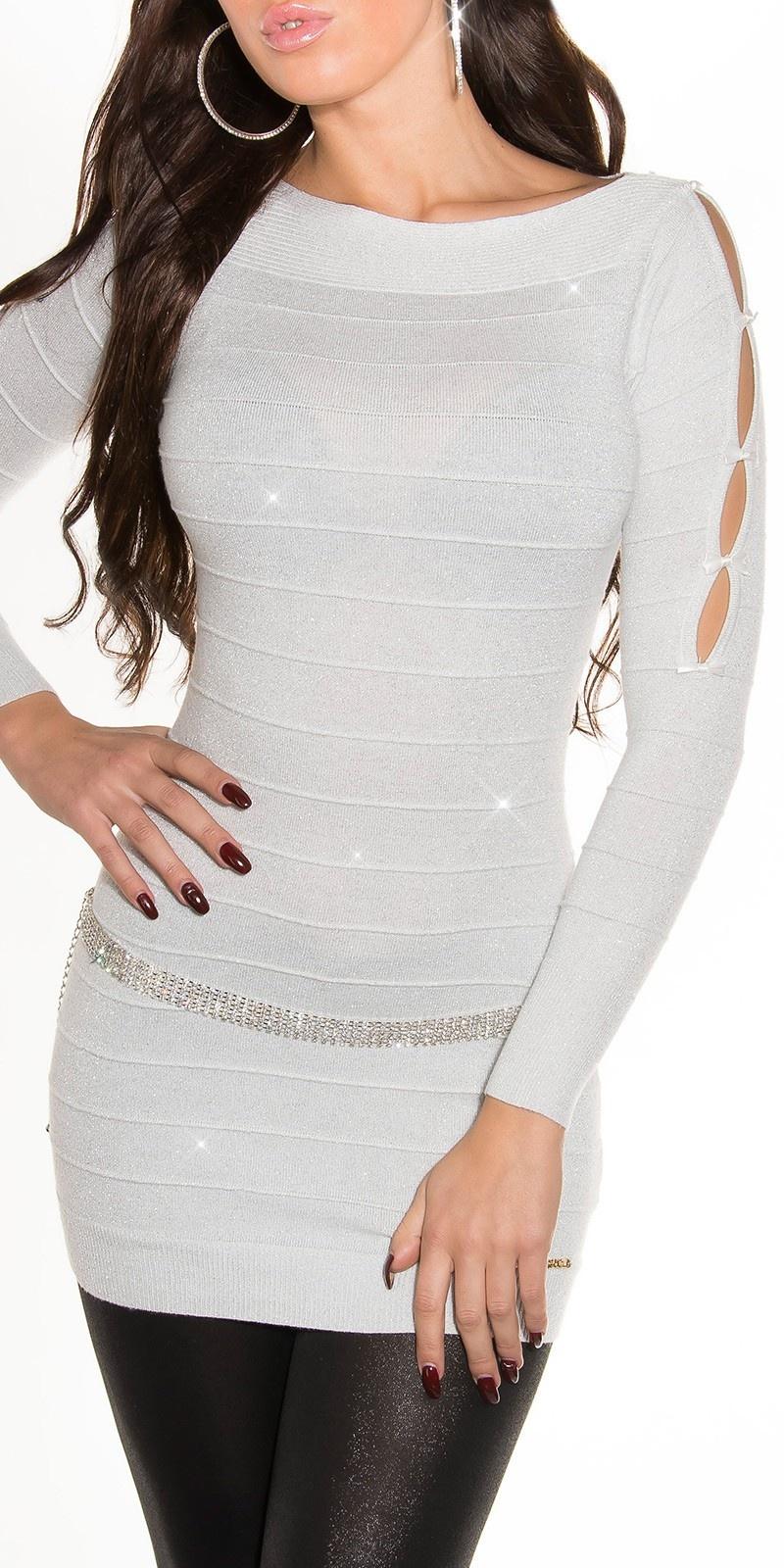 Fijn-gebreide-mini-jurk met glitter-effect wit