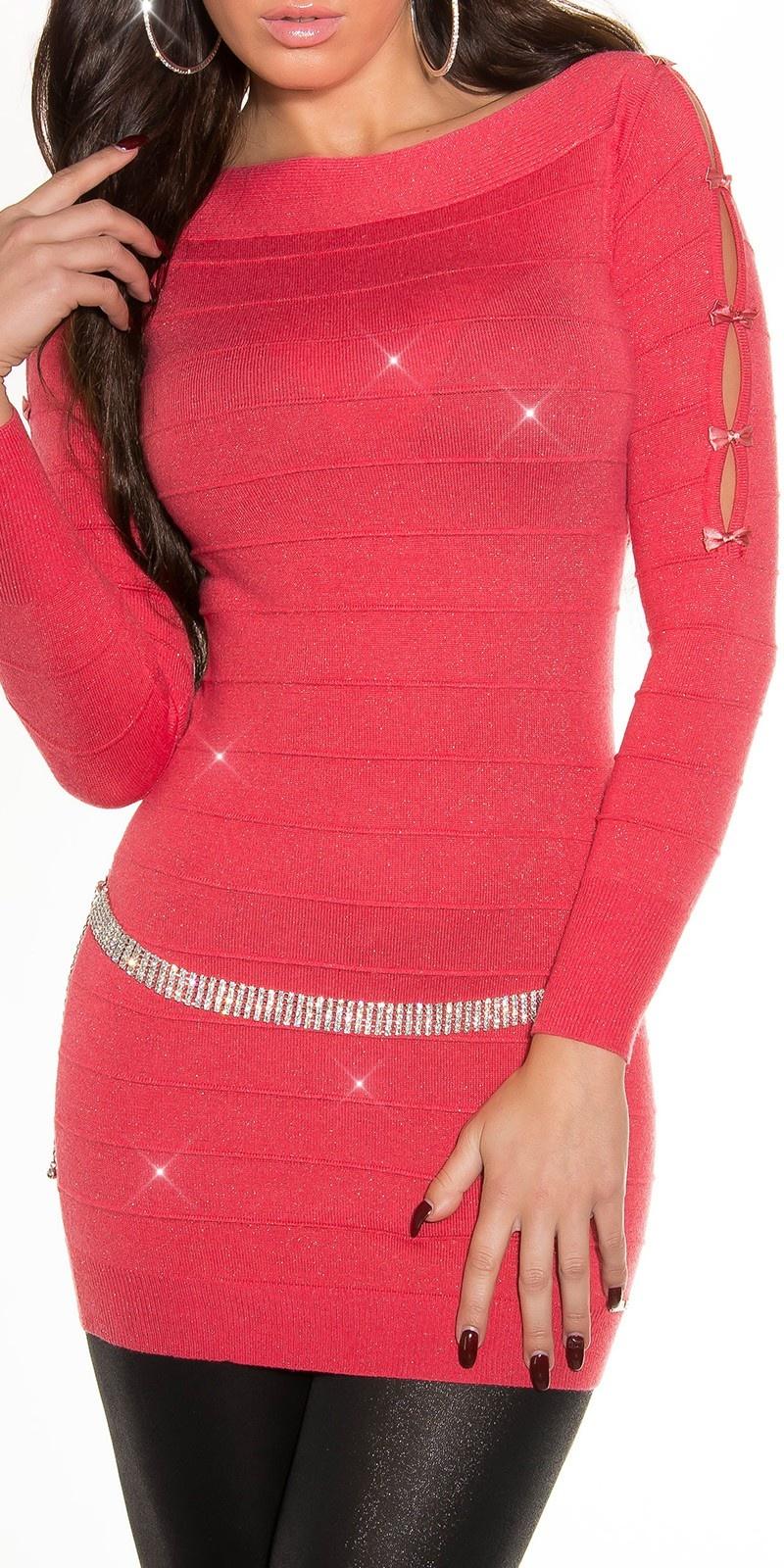 Fijn-gebreide-mini-jurk met glitter-effect koraal