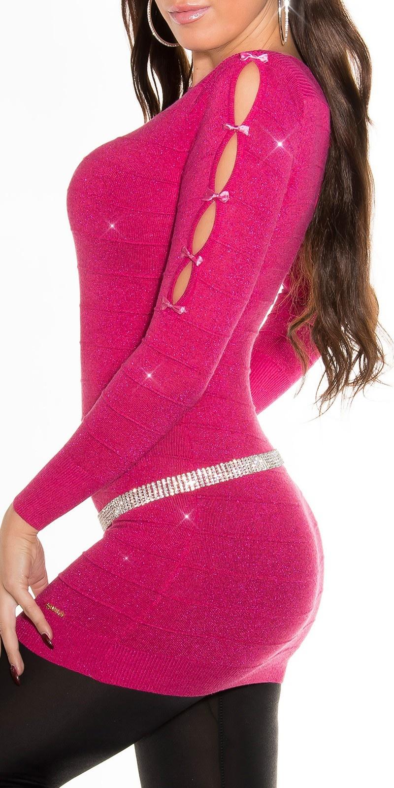 Fijn-gebreide-mini-jurk met glitter-effect fuchsiaroze