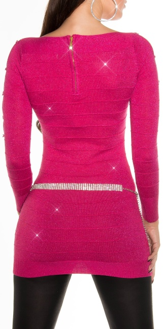 Fineknitted-minidress with glitter-effect Fuchsia