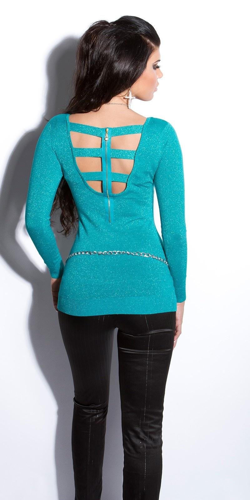 Sexy fijngebreide-lange sweater-trui met ritssluiting saffierblauw