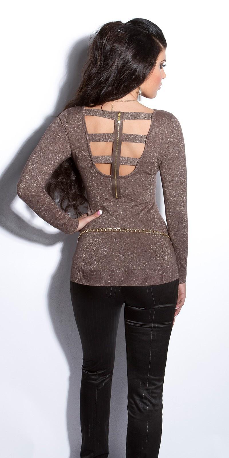 Sexy fijngebreide-lange sweater-trui met ritssluiting cappuccino