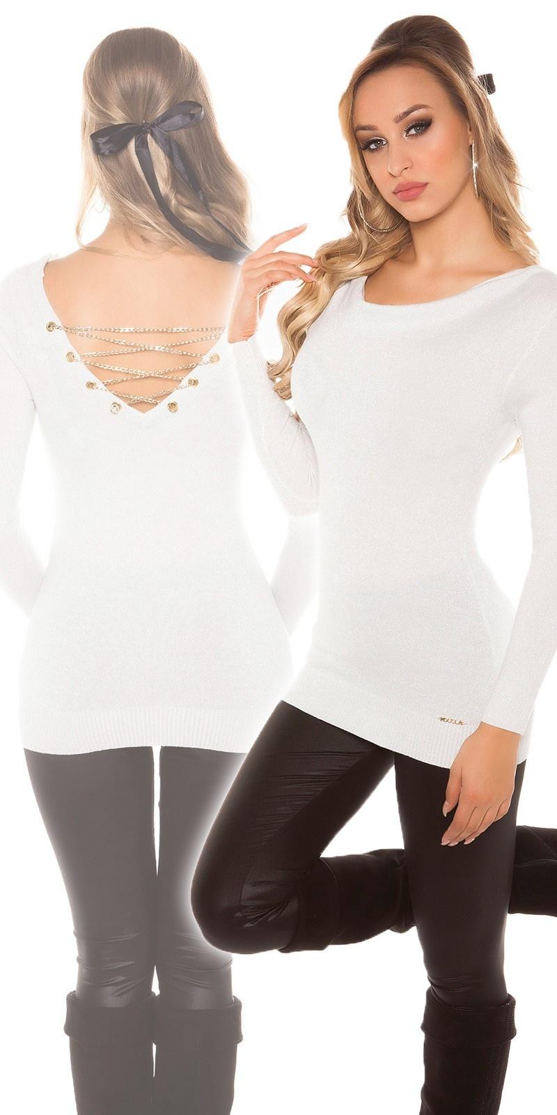 Sexy lange pullover met kettingen wit
