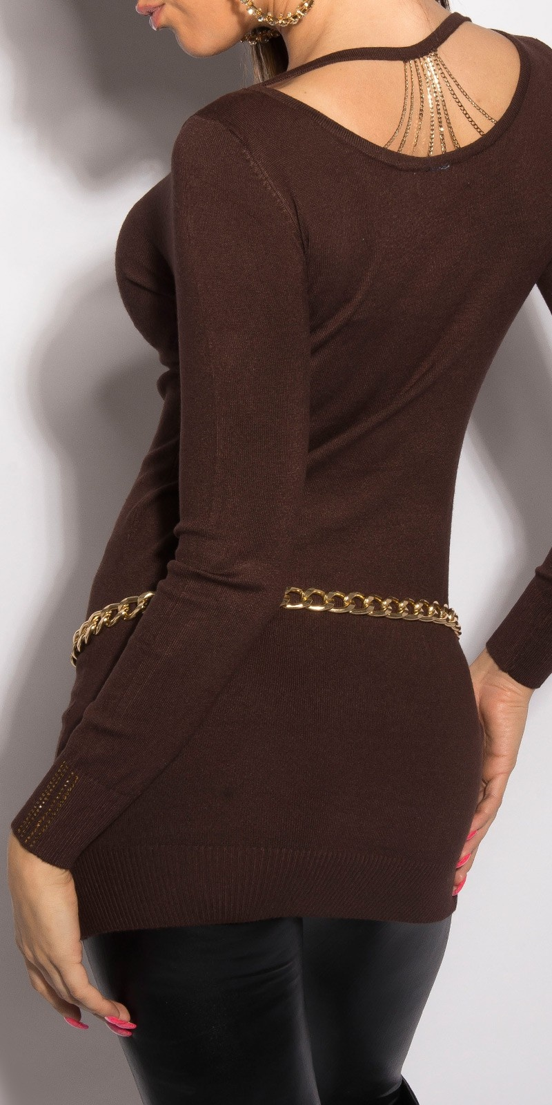 Sweater with little chains Brown