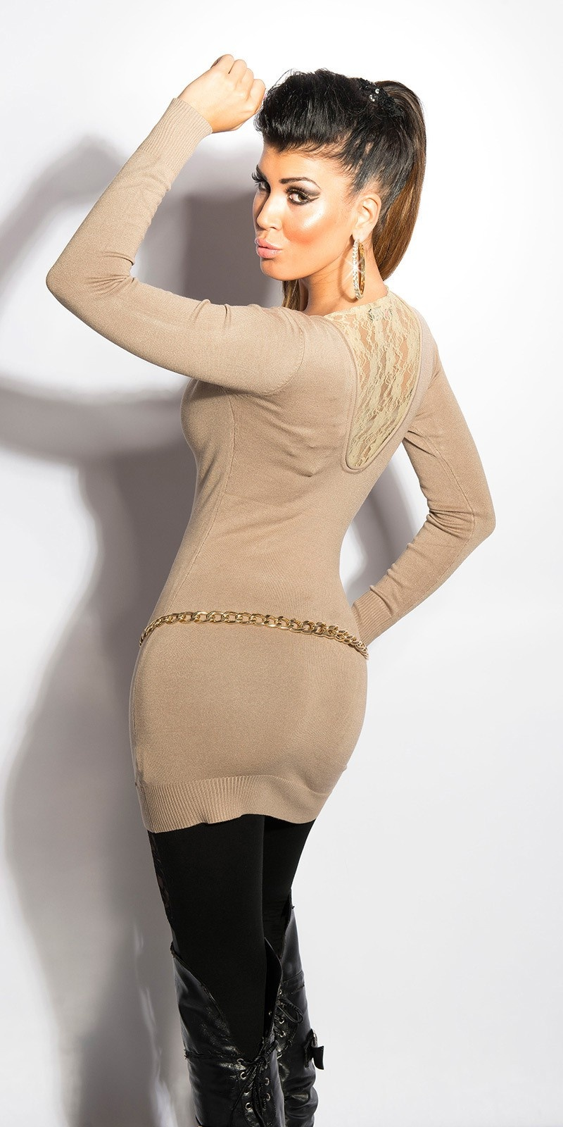 Sexy KouCla v-cut-sweater with lace Beige