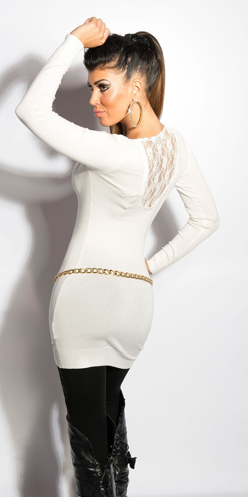 Sexy v-hals-sweater-trui met kant wit