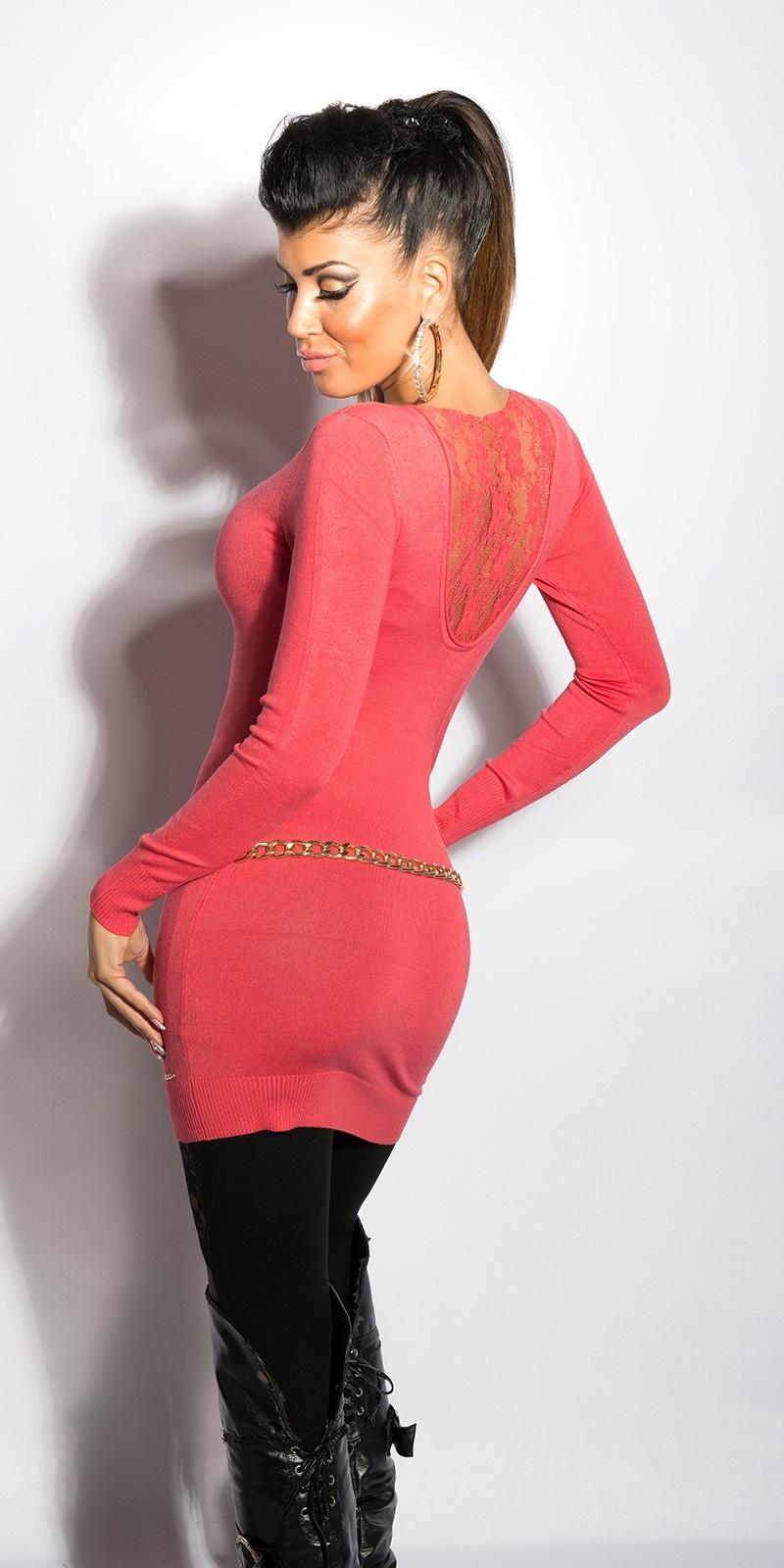 Sexy v-hals-sweater-trui met kant koraal-kleurig
