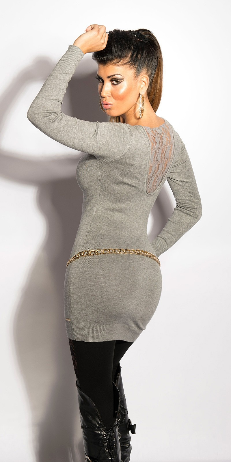 Sexy v-hals-sweater-trui met kant grijs