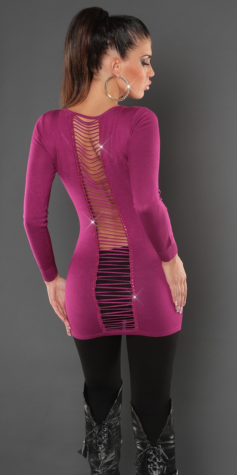 Sexy KouCla backless longsweater with paste Violet