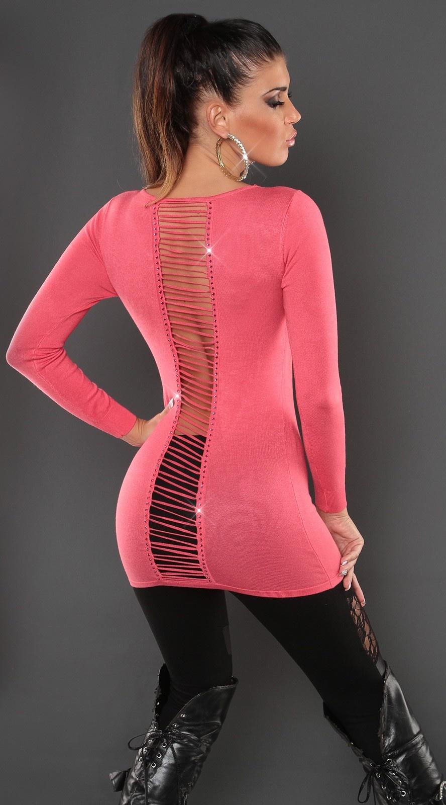 Sexy open rug lange sweater-trui koraal-kleurig