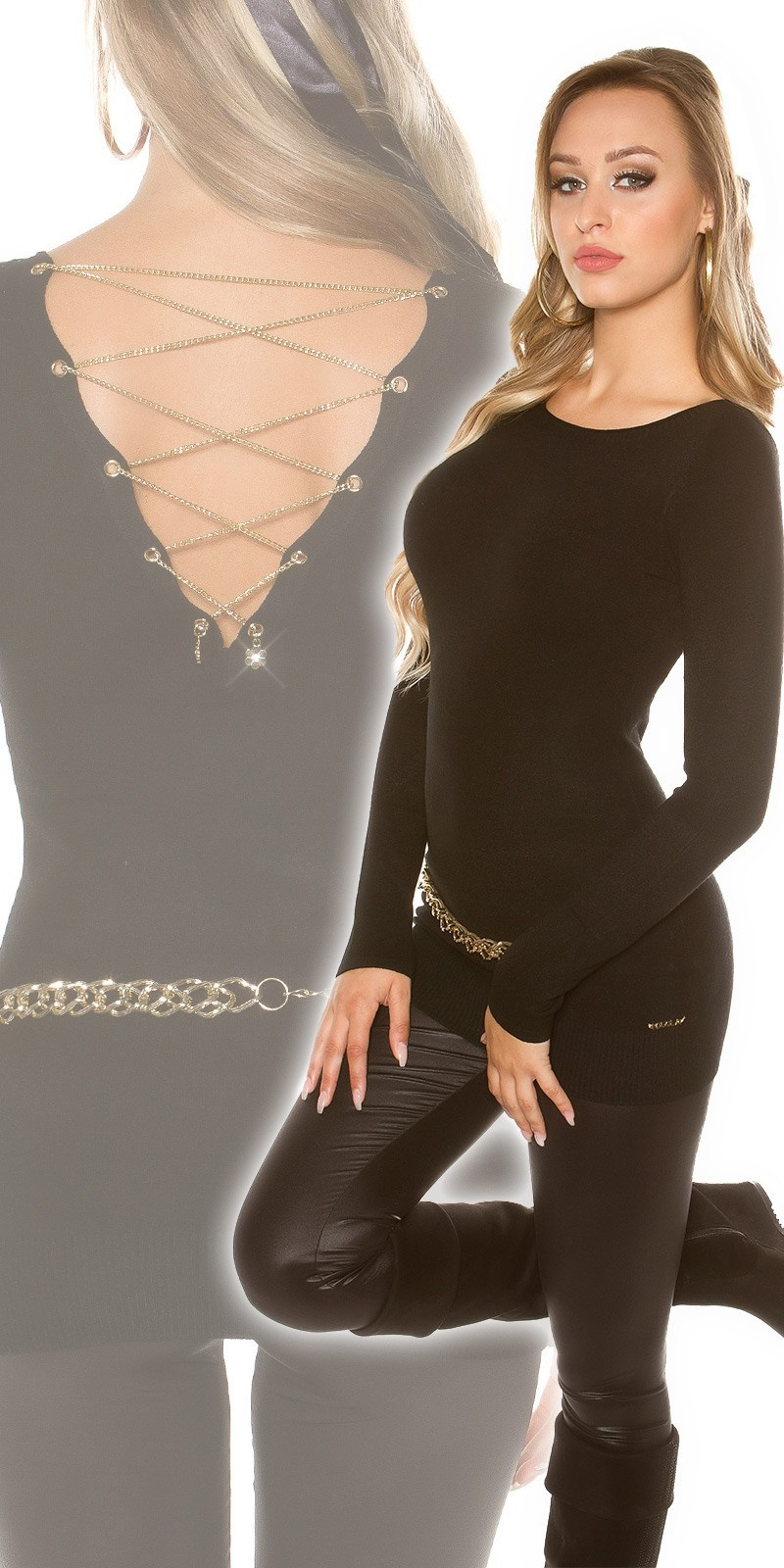 Sexy KouCla sweater with chain-lacing Black