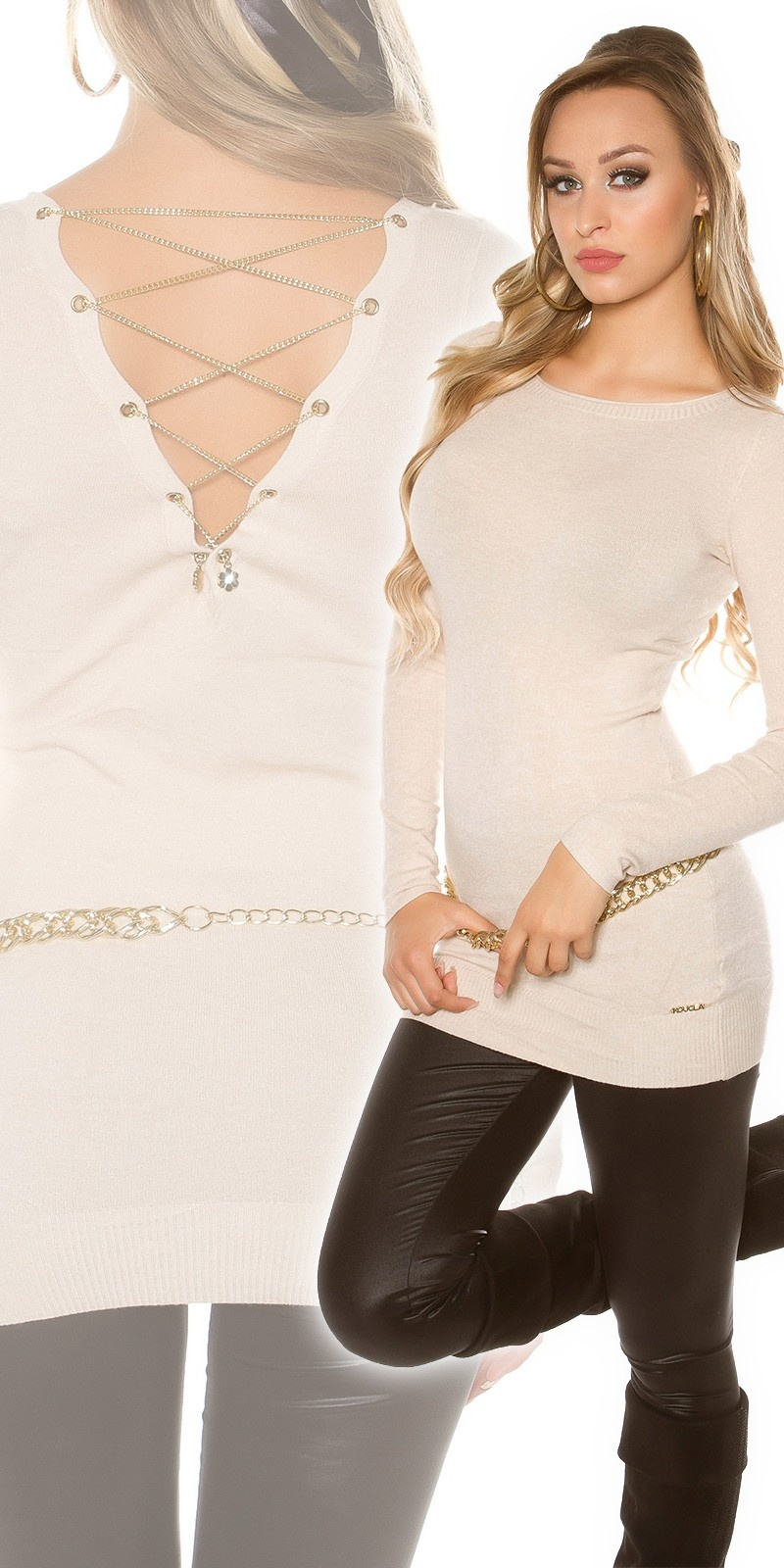 Sexy KouCla sweater with chain-lacing Beige
