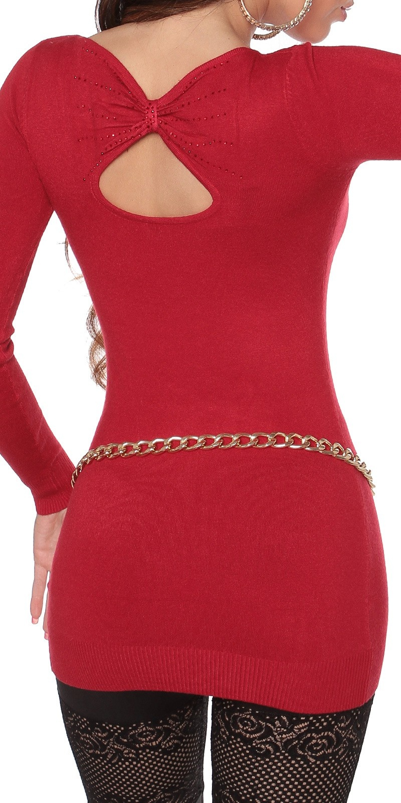 Sexy lange sweater-trui met opening op de rug rood