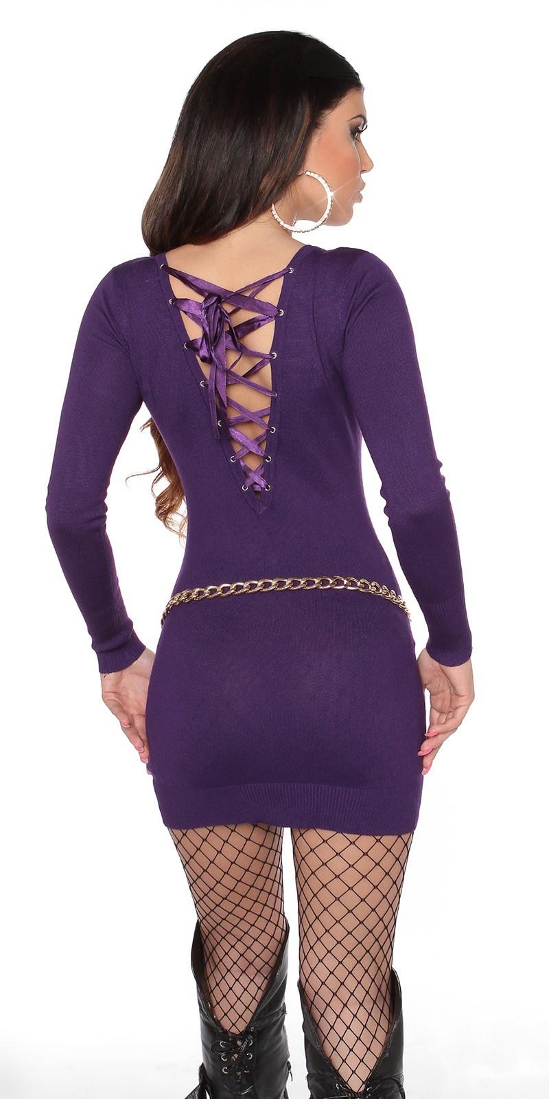 Sexy gebreide jurk open rug paars
