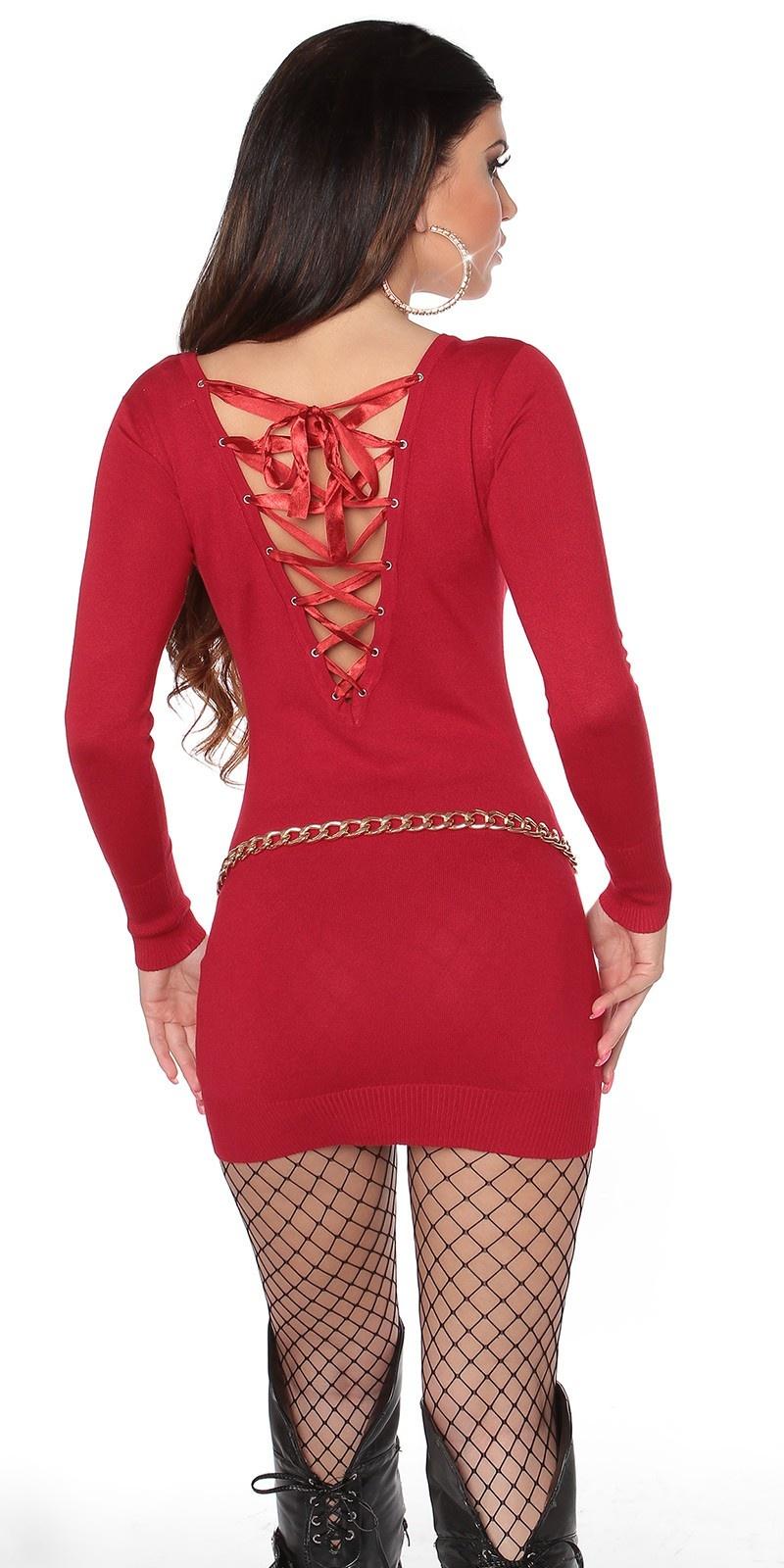 Sexy gebreide jurk open rug rood