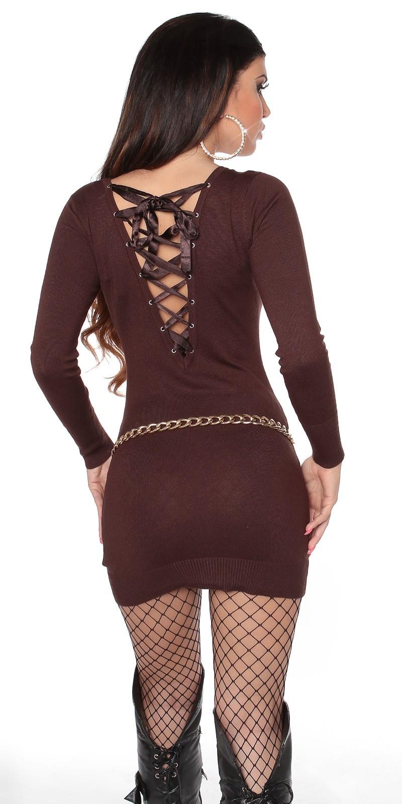 Sexy gebreide jurk open rug bruin