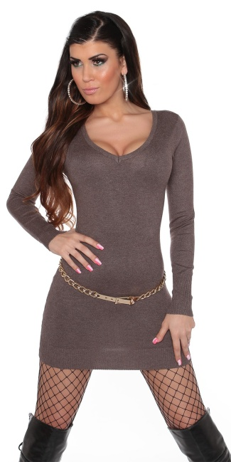 Sexy KouCla knitdress to tie on back Cappuccino