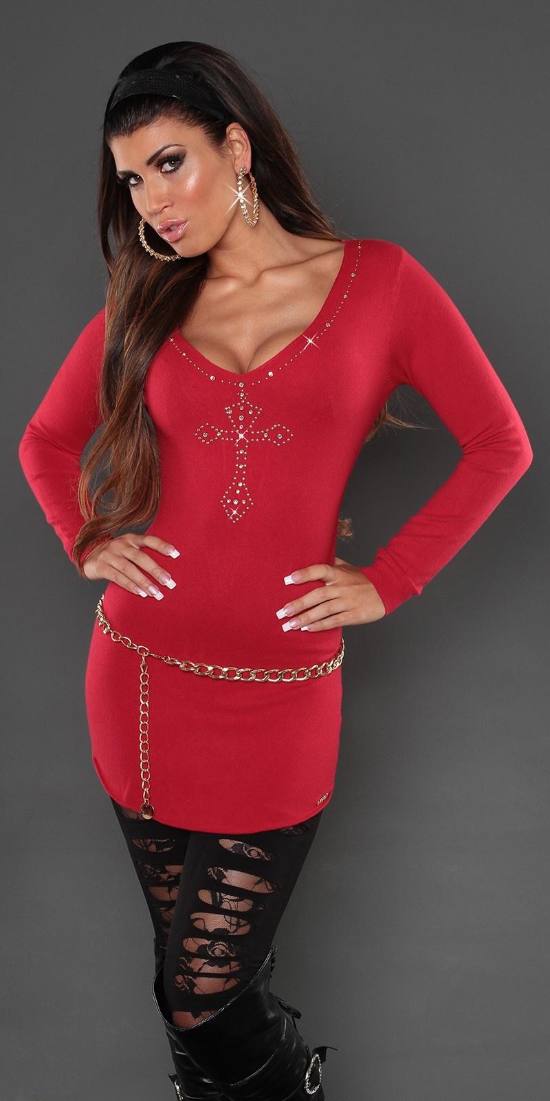 Sexy lange sweater-trui met studs en borduurwerk rood