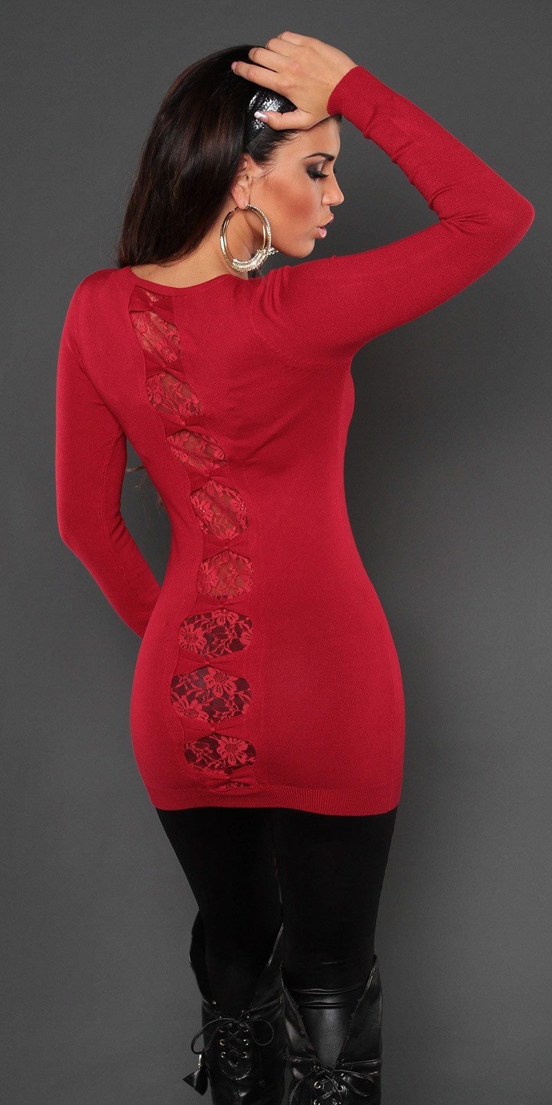 Sexy KouCla longsweater with lace and bows Red