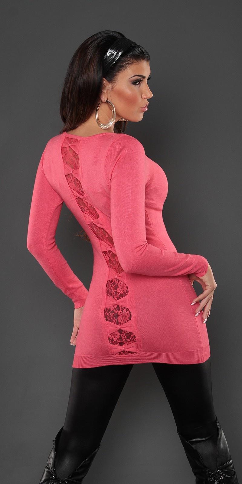Sexy lange sweater-trui met kant en strikjes koraal-kleurig