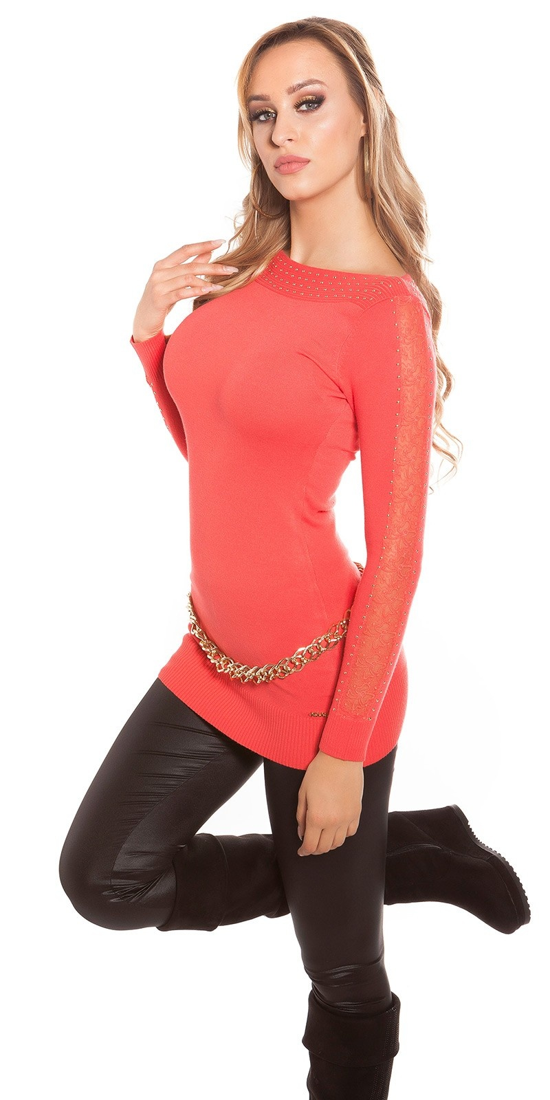 Sexy KouCla sweater with studs and lace Coral