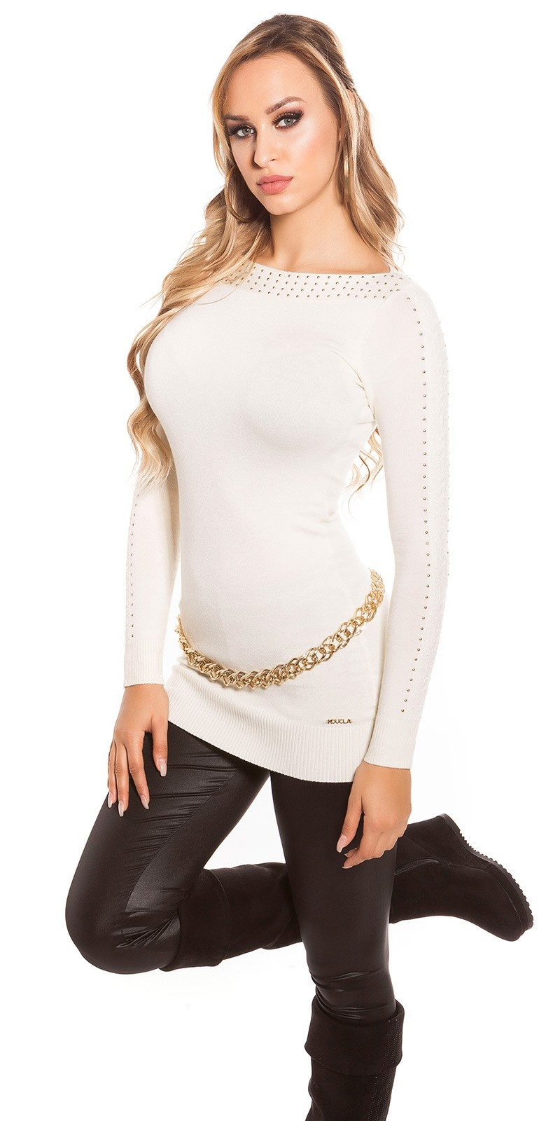 Sexy KouCla sweater with studs and lace White