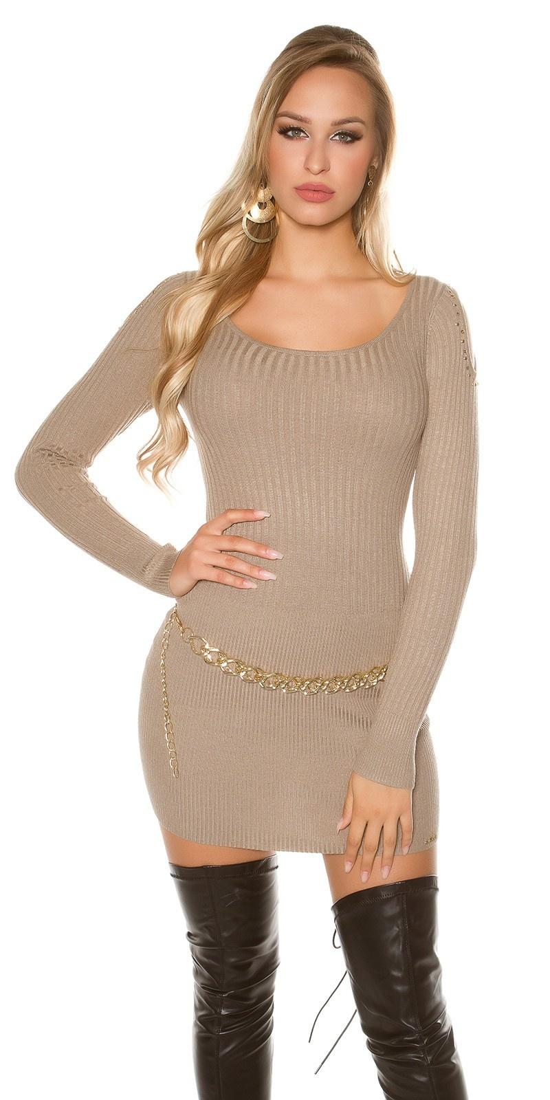 Sexy KouCla shoulderfree fineknit-dress with studs Taupe