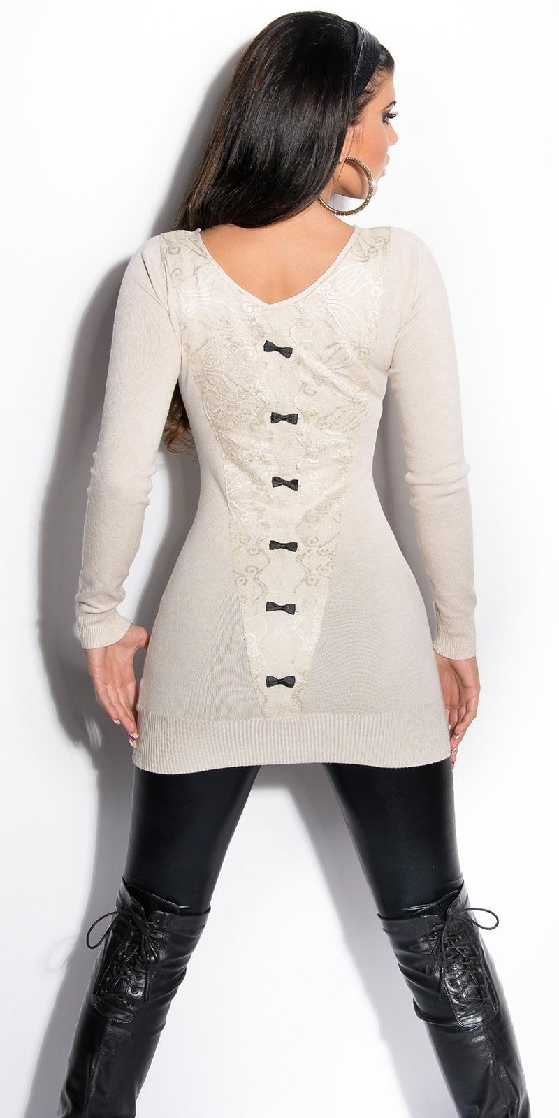 Sexy lange sweater-trui met kant en strikjes beige