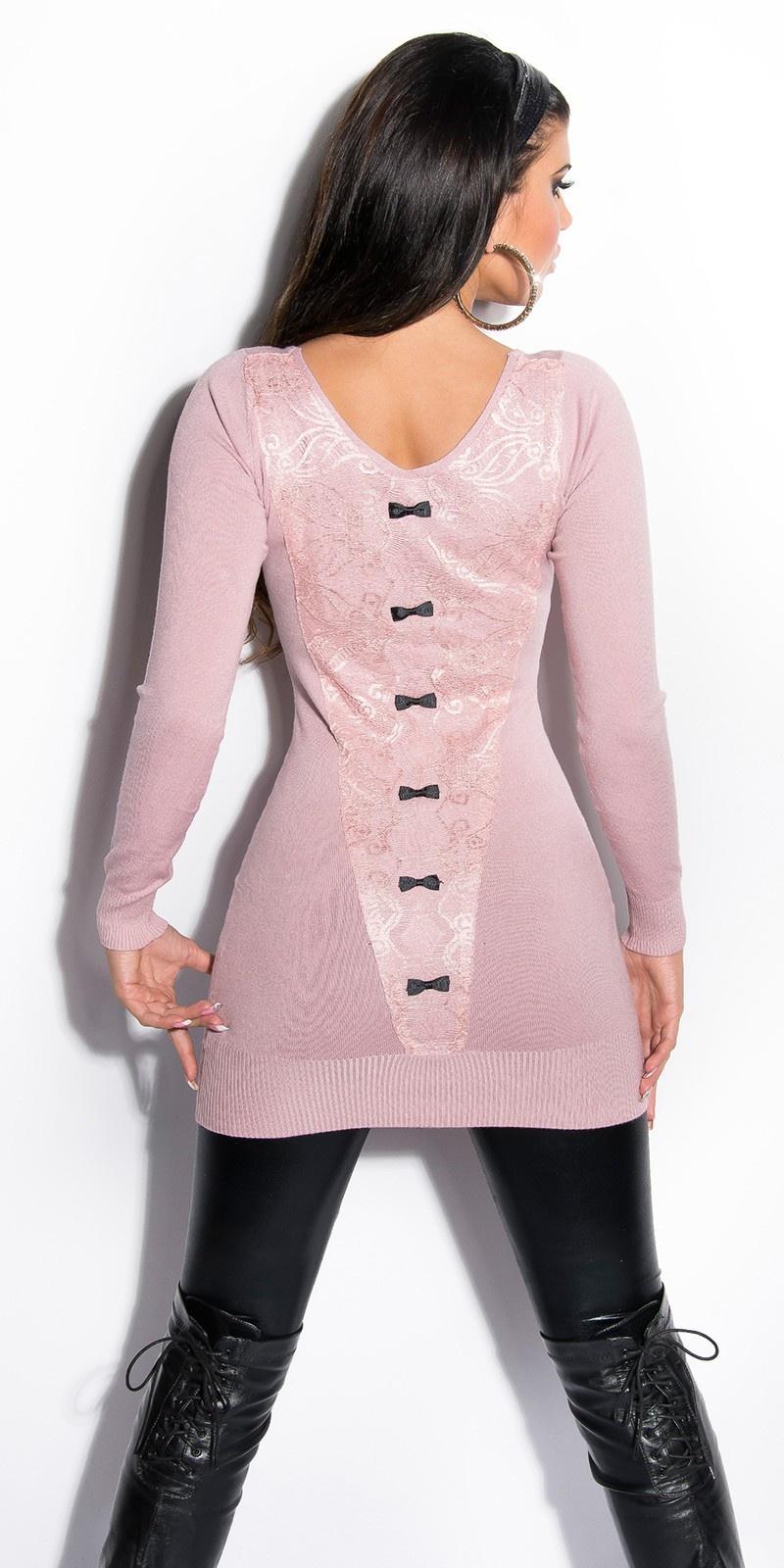 Sexy lange sweater-trui met kant en strikjes rose