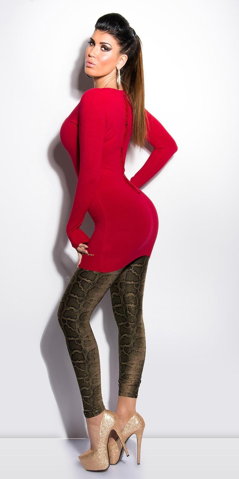 Sexy lange sweater-trui met kant en strikjes rood