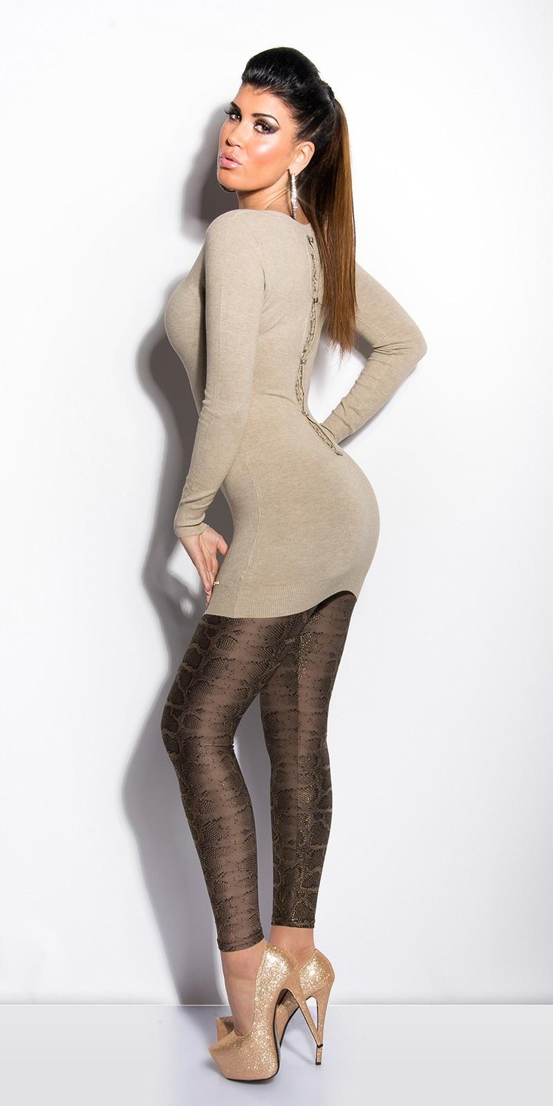 Sexy lange sweater-trui met kant en strikjes taupe