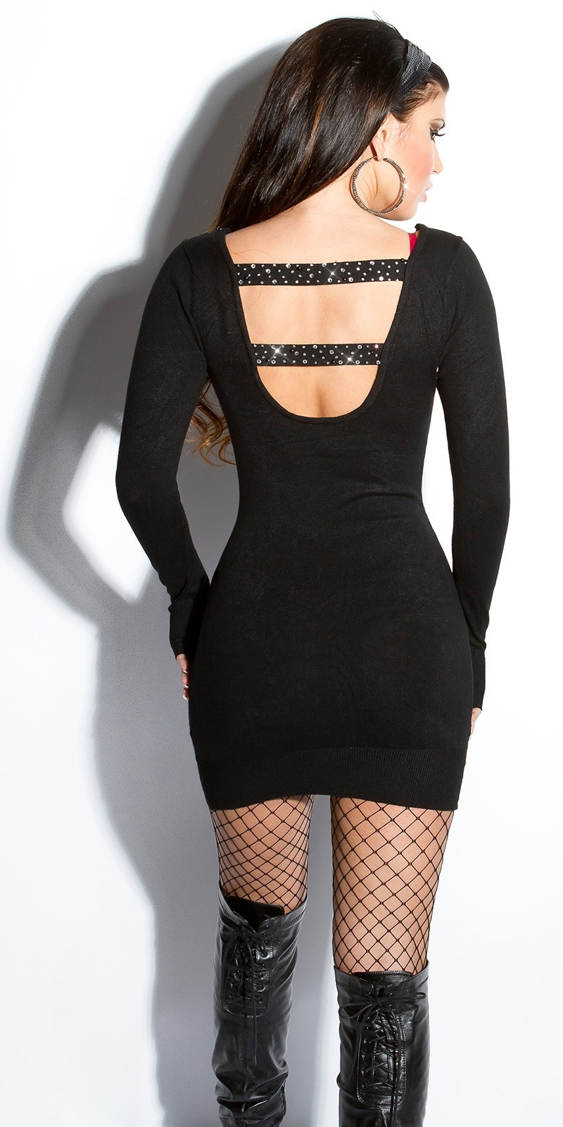 Sexy fijngebreid-mini jurkje met open rug zwart