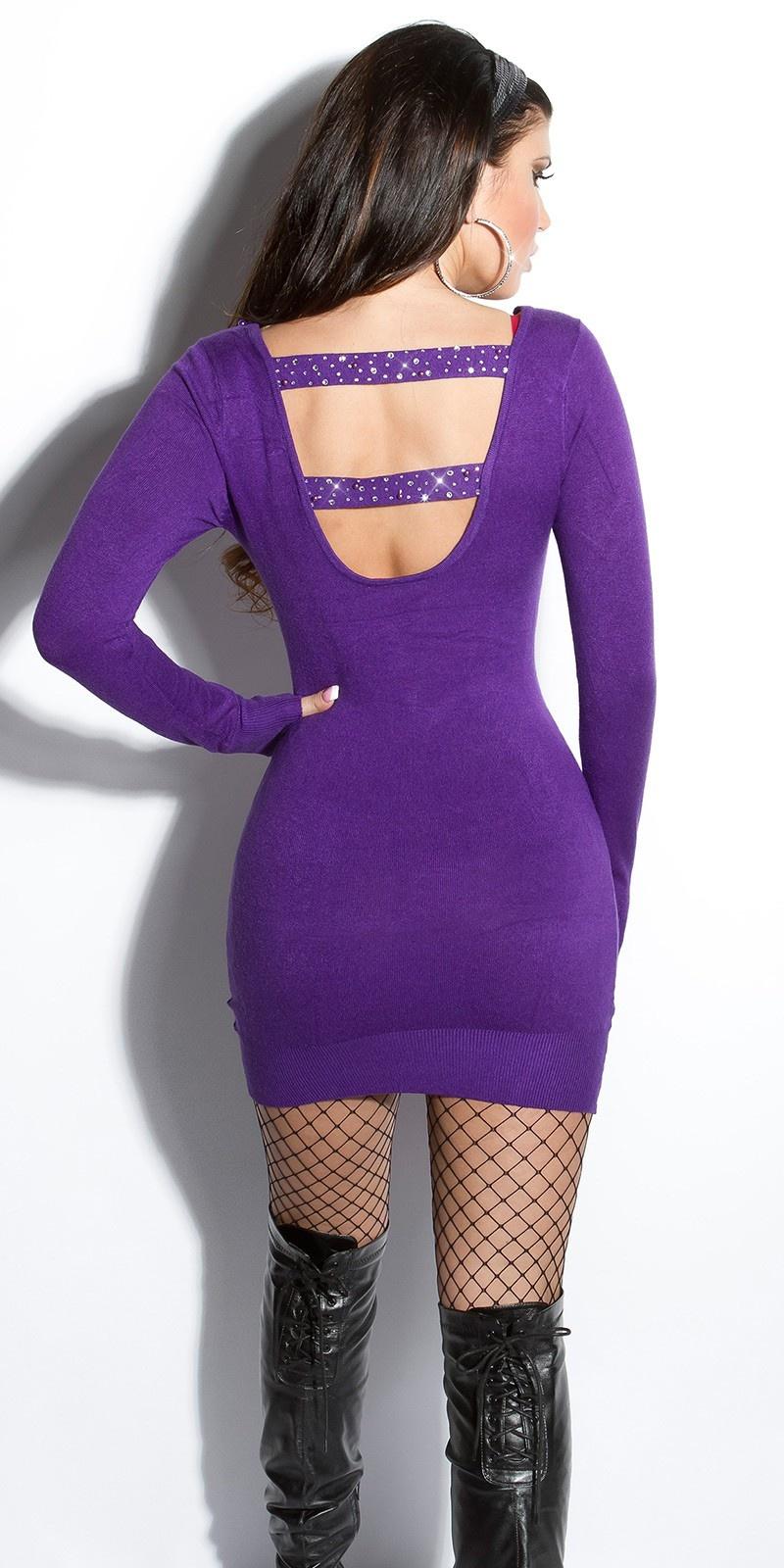 Sexy fijngebreid-mini jurkje met open rug paars