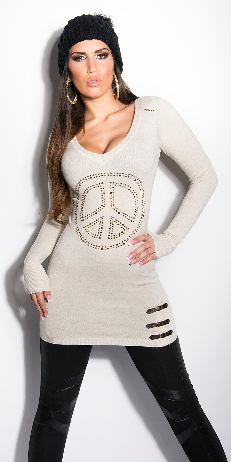 Sexy lange sweater-trui met strass steentjes + gespen beige