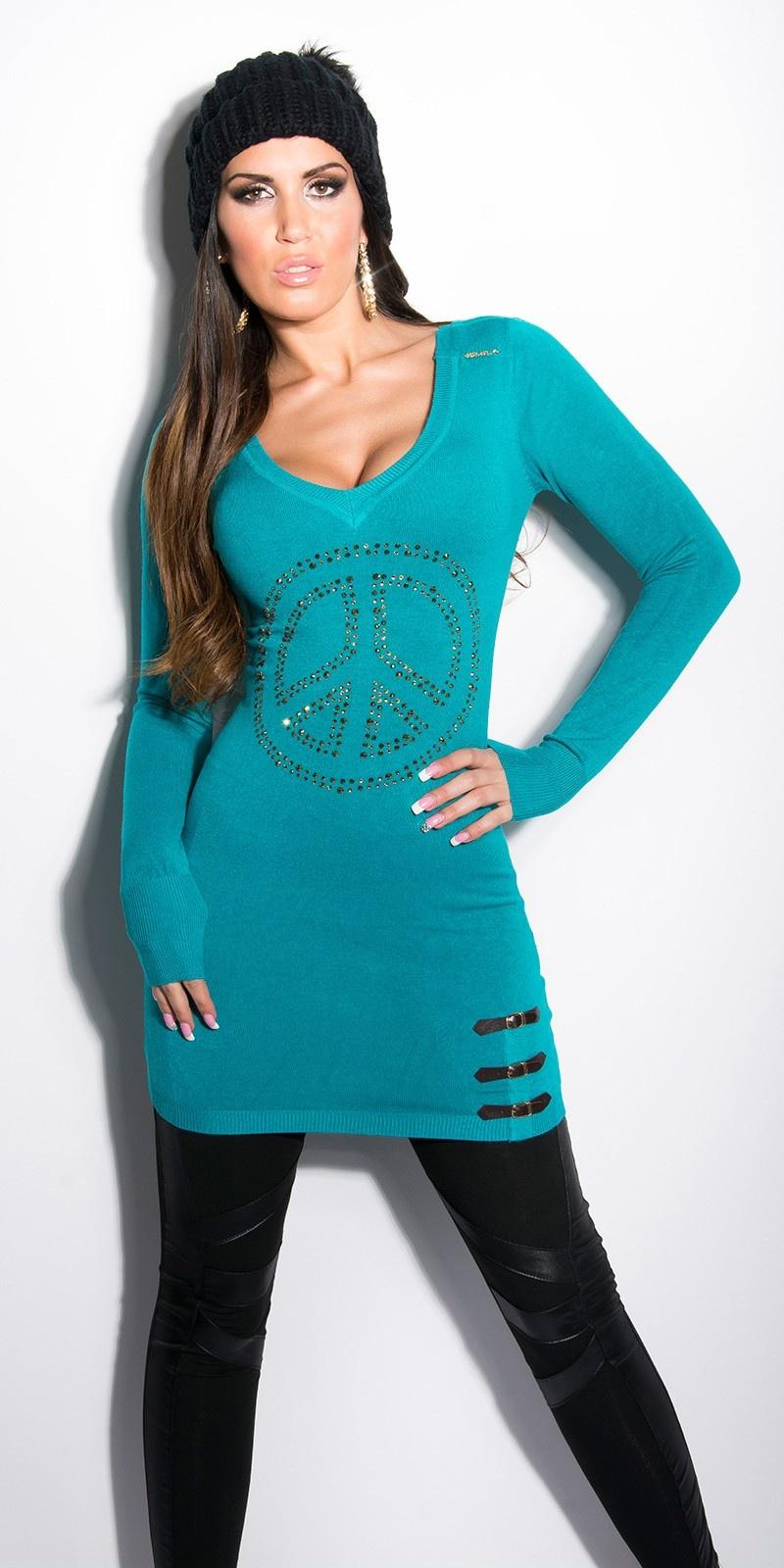Sexy lange sweater-trui met strass steentjes + gespen saffierblauw
