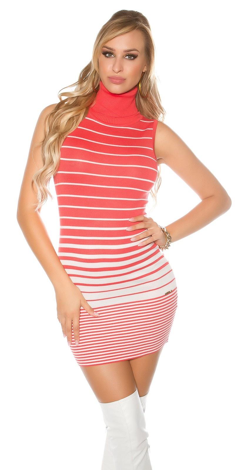 Sexy col gebreide jurk met open rug koraal-kleurig