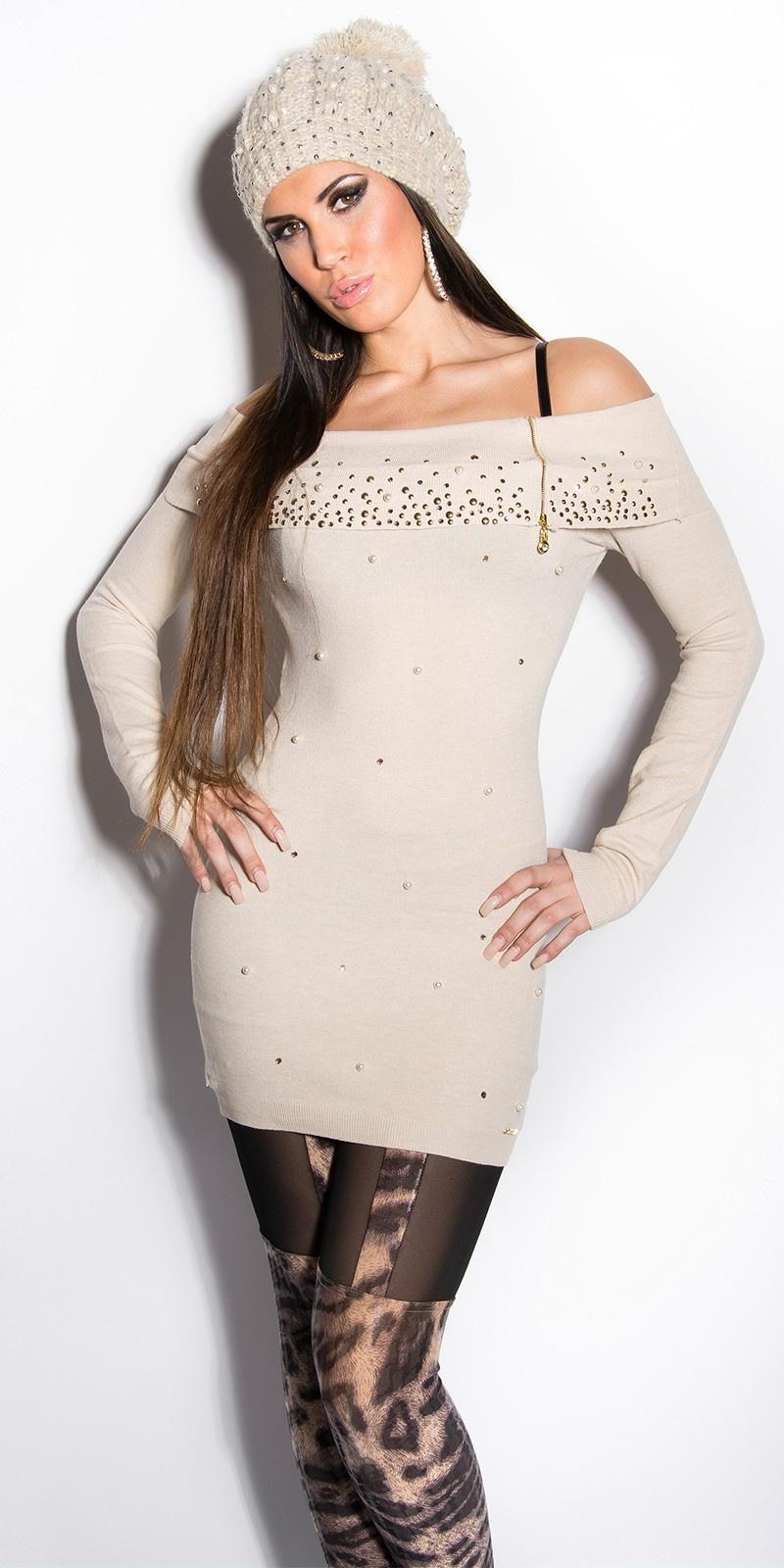 Sexy lange sweater-trui met parels en strass steentjes beige