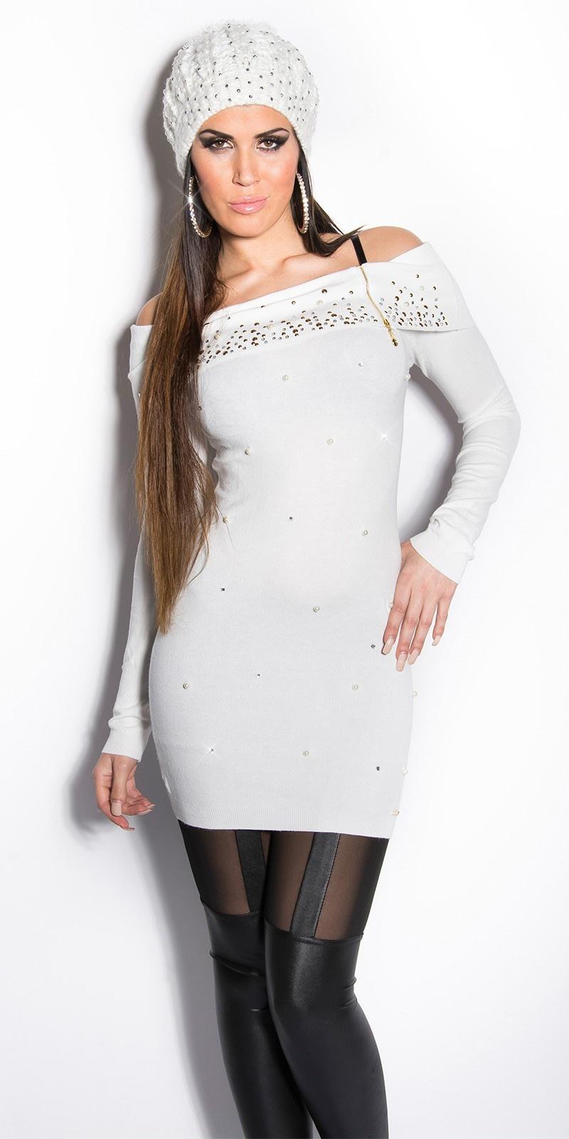 Sexy lange sweater-trui met parels en strass steentjes wit