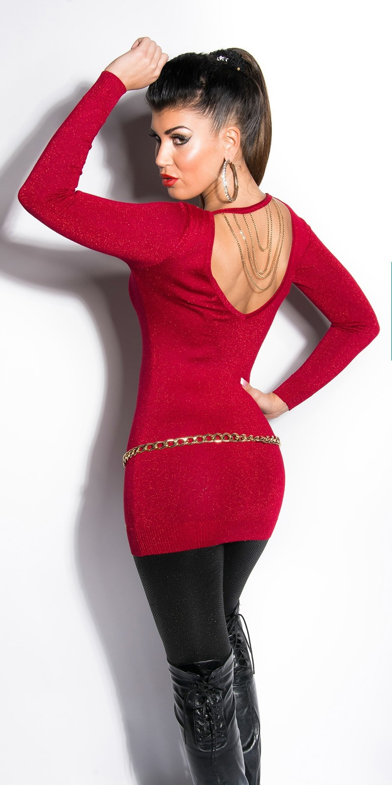 Sexy lurex-pullover bordeaux