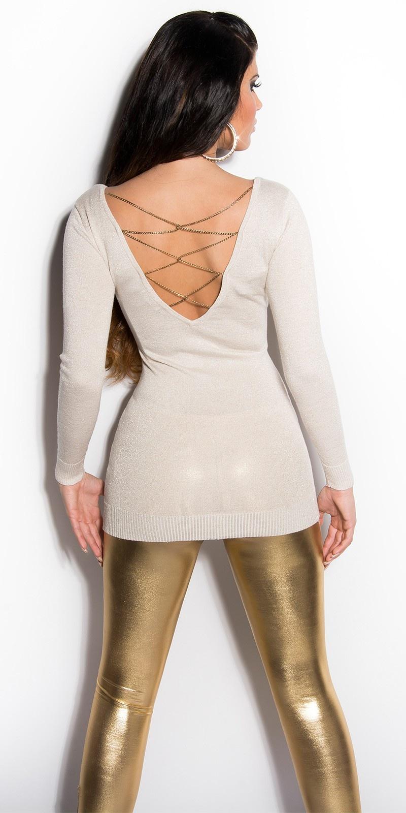 Sexy lange sweater-trui met glitter-effect beige