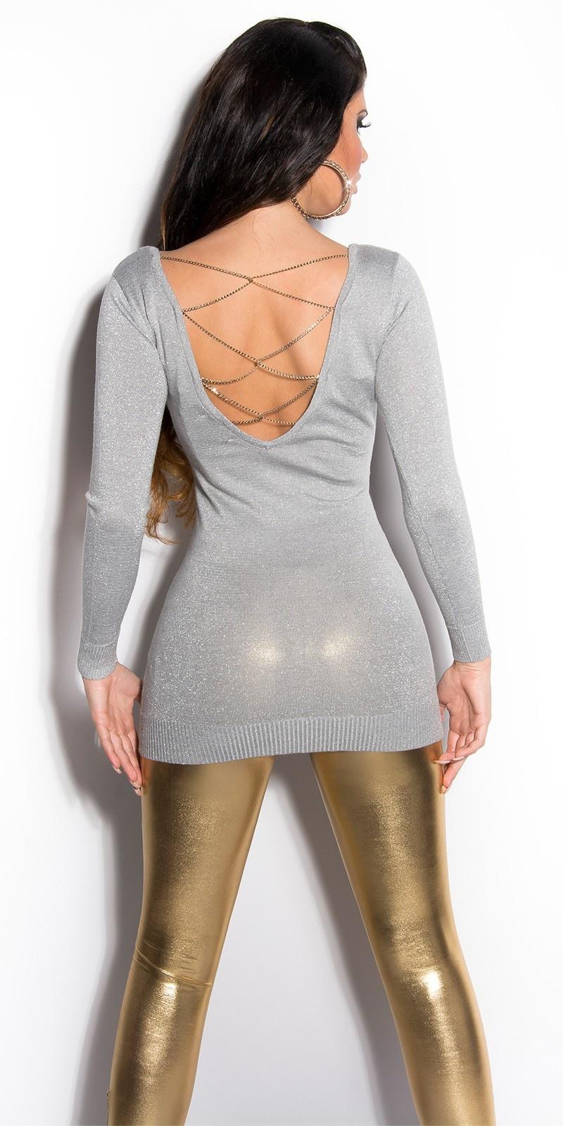 Sexy lange sweater-trui met glitter-effect grijs