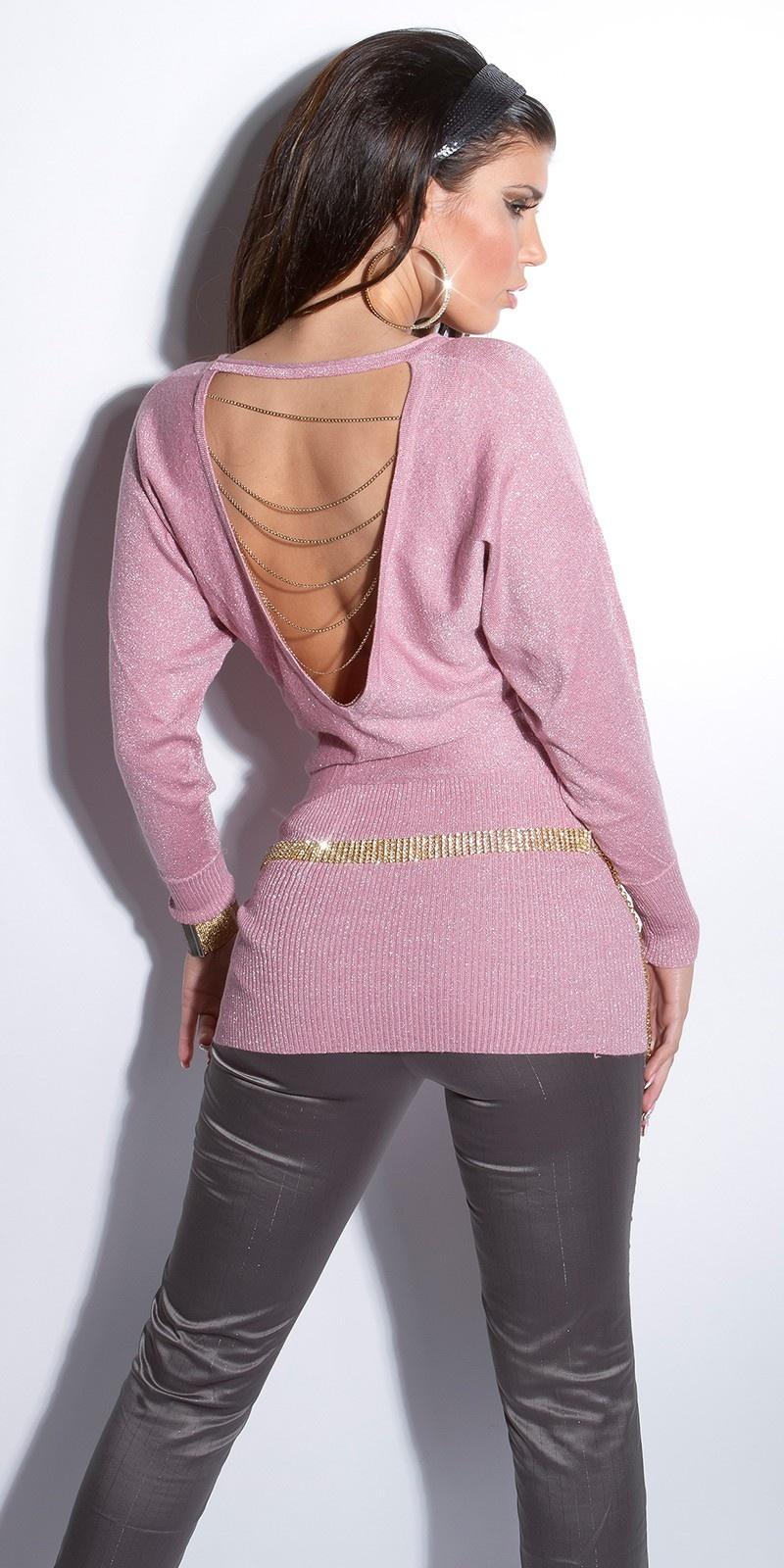Sexy lange sweater-trui met open rug en kettingen antiekroze