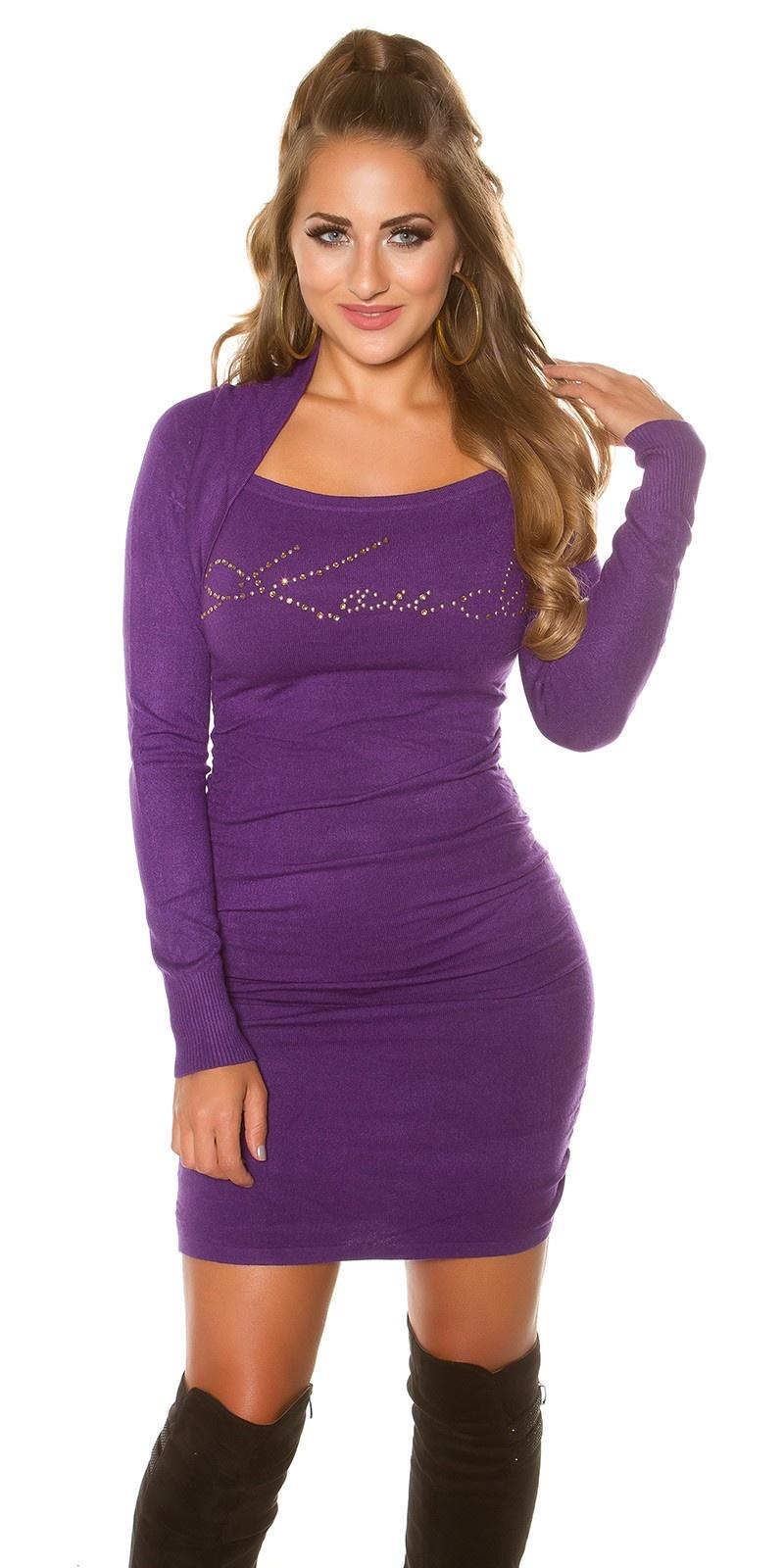 Sexy KouCla longsweater 2in1 with rhinestones Purple
