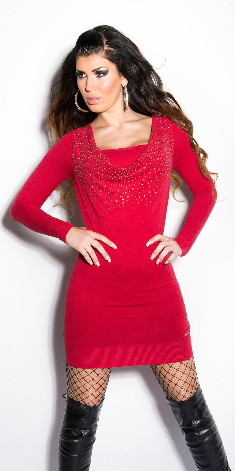 Sexy KouCla fineknit-dress with studs Red