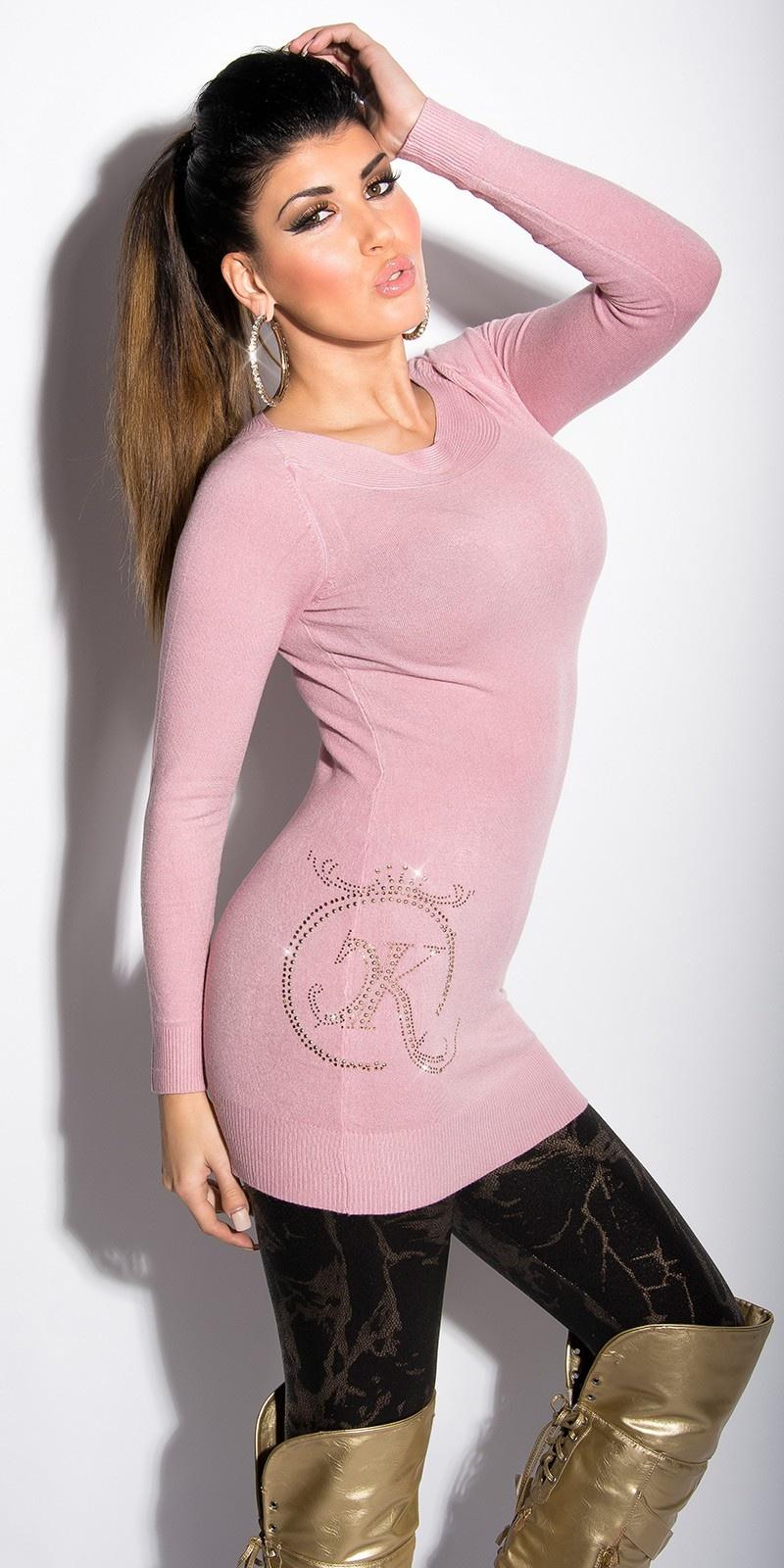 Sexy lange sweater-trui met strass steentjes en studs antiekroze