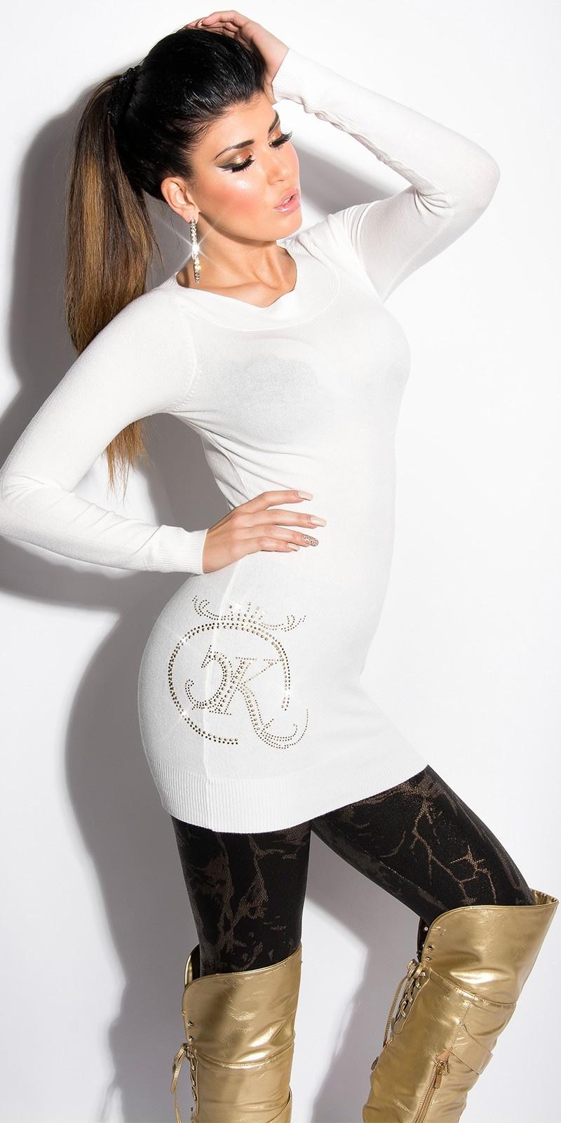 Sexy lange sweater-trui met strass steentjes en studs wit